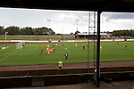 Action from the second half at Shielfield Park, during the Scottish League Two fixture between Berwick Rangers and East Stirlingshire (orange shirts). The home club occupied a unique position in Scottish football as they are based in Berwick-upon-Tweed, which lies a few miles inside England. Berwick won the match by 5-0, watched by a crowd of 509.