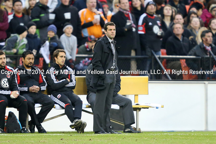 18 November 2012: DC head coach Ben Olsen. DC United played the Houston Dynamo at RFK Stadium in Washington, DC in the second leg of their 2012 MLS Cup Playoffs Eastern Conference Final series. The game ended in a 1-1 tie, Houston won the series 4-2 on aggregate goals.