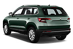 Car pictures of rear three quarter view of a 2018 Skoda Karoq Ambition 5 Door SUV angular rear