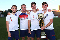 The Everton players, Jonjoe Kenny, Tom Davies, Keiran Dowell and Callum Connolly celebrate winning the Trophy during Mexico Under-21 vs England Under-21, Tournoi Maurice Revello Final Football at Stade Francis Turcan on 9th June 2018