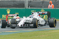March 18, 2016: Valtteri Bottas (FIN) #77 from the Williams Martini Racing team slides on turn 1 during practise session one at the 2016 Australian Formula One Grand Prix at Albert Park, Melbourne, Australia. Photo Sydney Low