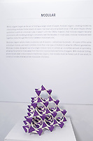 Surface to Structure origami exhibition at Cooper Union, New York. Gallery view. Diamond Crystal Lattice designed and folded by Jeannine Mosely 2013