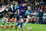 Lionel Andres Messi (R) of FC Barcelona fights for the ball with Roberto Suarez Pier, Rober (L), of Levante UD during the La Liga 2017-18 match between FC Barcelona and Levante UD at Camp Nou on 07 January 2018 in Barcelona, Spain. Photo by Vicens Gimenez / Power Sport Images