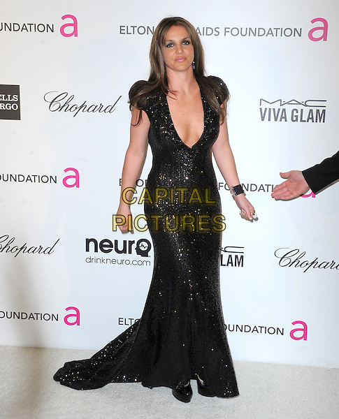 Britney Spears (wearing Michael Cinco Couture).The 21st Annual Elton John AIDS Foundation Academy Awards Viewing Party held at The City of West Hollywood Park in West Hollywood, California, USA..February 24th, 2013.oscars full length black dress sequins sequined plunging neckline cleavage dyed brown hair brunette                                                                  .CAP/DVS.©DVS/Capital Pictures.