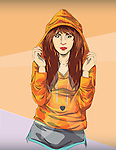 Illustration of trendy teenage girl in orange hooded jacket against colored background