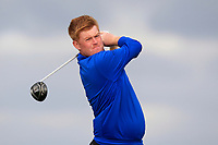 Eanna Griffin (Waterford) on the 9th tee during Round 2 of The East of Ireland Amateur Open Championship in Co. Louth Golf Club, Baltray on Sunday 2nd June 2019.<br />