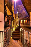 Street lit stairs in Cumberland Basin, Bristol