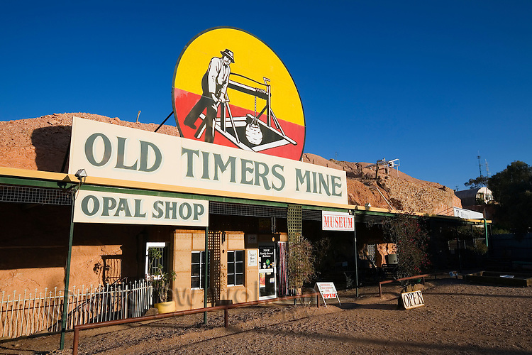 Old Timers Mine in Coober Pedy.  The 1916 mine serves as a museum for opal mining and still has gem quality opal embeded in its walls.