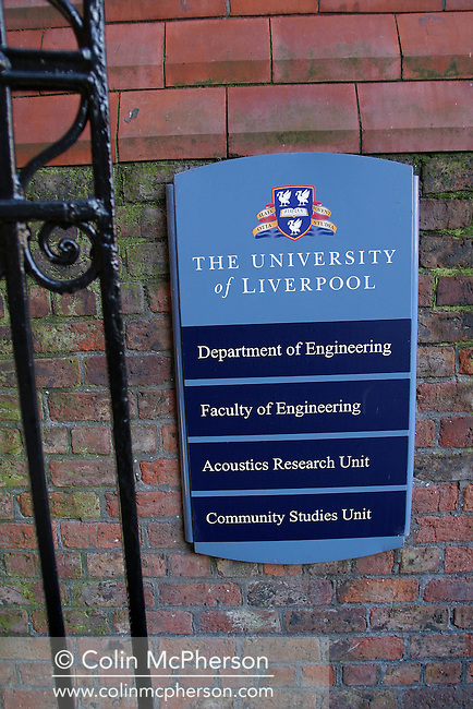Sign in the Quadrangle of the University of Liverpool. .