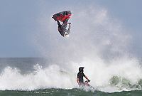 Jetski rider James Bainbridge shows his skill in the surf during the Yamaha NZ Festival of Freeride jetski event, held at Karioitahi Beach, Waiuku, New Zealand.   09 February 2018. Photo: Brett Phibbs / PhibbsVisuals