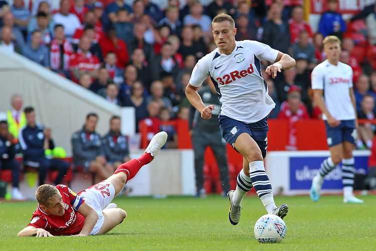 Preston North End's Billy Bodin gets away from Nottingham Forest's Michael Dawson<br /> <br /> Photographer David Shipman/CameraSport<br /> <br /> The EFL Sky Bet Championship - Nottingham Forest v Preston North End - Saturday 31st August 2019 - The City Ground - Nottingham<br /> <br /> World Copyright © 2019 CameraSport. All rights reserved. 43 Linden Ave. Countesthorpe. Leicester. England. LE8 5PG - Tel: +44 (0) 116 277 4147 - admin@camerasport.com - www.camerasport.com