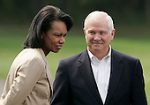 U.S. Secretary of State Condoleezza Rice (L) and U.S. Secretary of Defense Robert Gates await the start of a joint press conference by U.S. President George W. Bush and Afghan President Hamid Karzai in Camp David Maryland, USA on Monday 06 August 2007. Karzai's two-day visit to the Presidential mountain retreat included discussions of trouble at home, including a hostage crisis and a resurgent Taliban.
