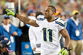 Seattle Seahawks wide receiver Percy Harvin (11) acknowledge a cheer from the stands late in the second quarter against the Washington Redskins at FedEx Field in Landover, Maryland on Monday, October 6, 2014.<br /> Credit: Ron Sachs / CNP
