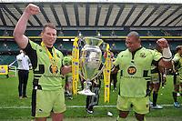 Dylan Hartley and Salesi Ma'afu with the Aviva Premiership trophy. Aviva Premiership Final, between Saracens and Northampton Saints on May 31, 2014 at Twickenham Stadium in London, England. Photo by: Patrick Khachfe / JMP