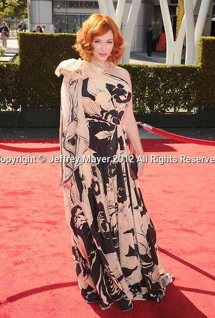 LOS ANGELES, CA - SEPTEMBER 15: Christina Hendricks arrives at the 2012 Primetime Creative Arts Emmy Awards at Nokia Theatre L.A. Live on September 15, 2012 in Los Angeles, California.