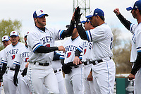 Syracuse Chiefs center fielder Bryce Harper #34 is introduced before the opening game of the International League season against the Rochester Red Wings at Alliance Bank Stadium on April 5, 2012 in Syracuse, New York.  (Mike Janes/Four Seam Images)