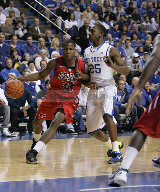 Marquis Teague guards Jarvis Summers during the first half of the game against the University of Mississippi Rebels, in  Rupp Arena, on Saturday, Feb. 18, 2012. Photo by Latara Appleby | Staff ..
