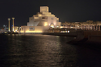 Doha, Qatar.  Museum of Islamic Art.  Night View.