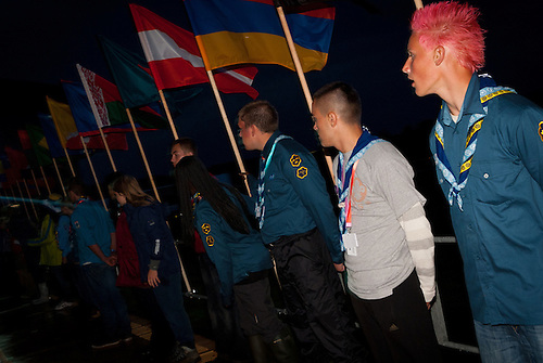 Flags on the catwalk during the opening ceremony from the outside