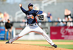 2 March 2010: Atlanta Braves pitcher Manny Acosta in action against the New York Mets during the Opening Day of Grapefruit League play at Tradition Field in Port St. Lucie, Florida. The Mets defeated the Braves 4-2 in Spring Training action. Mandatory Credit: Ed Wolfstein Photo