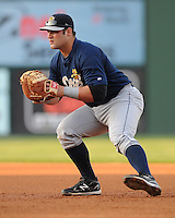 First baseman Kyle Roller (32) of the Charleston RiverDogs, Class A affiliate of the New York Yankees, in a game against the Greenville Drive on April 11, 2011, at Fluor Field at the West End in Greenville, S.C. Photo by Tom Priddy / Four Seam Images