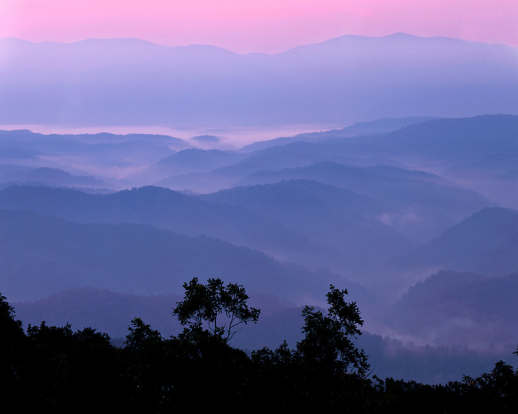 Foggy sunrise light on the layered mountains on the Foothills Parkway; Great Smoky Mountains National Park, TN
