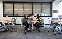 Prof. Julie Prebel and Wafa Abedin '21.<br /> Photos taken of the Writing Center on Feb. 15, 2019 on the Ground Floor of the Academic Commons. The Writing Center offers students from all disciplines two types of support to work on their writing: peer-to-peer, drop-in consultations with knowledgeable Writing Advisers and appointments with Faculty Writing Specialists from the Writing and Rhetoric department.<br /> (Photo by Marc Campos, Occidental College Photographer)