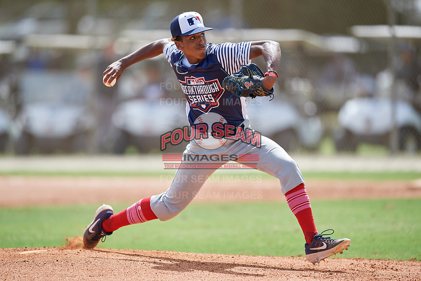 Pitcher Miles Garrett (7) during the WWBA World Championship at the Roger Dean Complex on October 10, 2019 in Jupiter, Florida.  Miles Garrett is a pitcher from Stone Mountain, Georgia who attends Parkview High School and is committed to Vanderbilt.  (Mike Janes/Four Seam Images)