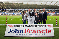 Lee Trundle of Swansea City with match shirt sponsors during the Sky Bet Championship match between Swansea City and Derby County at the Liberty Stadium in Swansea, Wales, UK. Saturday 08 February 2020