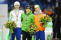 SCHAATSEN: HEERENVEEN: 26-10-2013, IJsstadion Thialf, NK afstanden, podium 3000m, Jorien ter Mors, Ireen Wüst, Antoinette de Jong, ©foto Martin de Jong