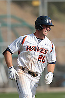 Aaron Brown (20) of the Pepperdine Waves runs the bases during a game against the Oklahoma Sooners at Eddy D. Field Stadium on February 18, 2012 in Malibu,California. Pepperdine defeated Oklahoma 10-0.(Larry Goren/Four Seam Images)