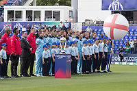 Players, officials, mascots with the  Trophy for the Anthems prior to the fixture between England vs Bangladesh, ICC World Cup Cricket at Sophia Gardens Cardiff on 8th June 2019
