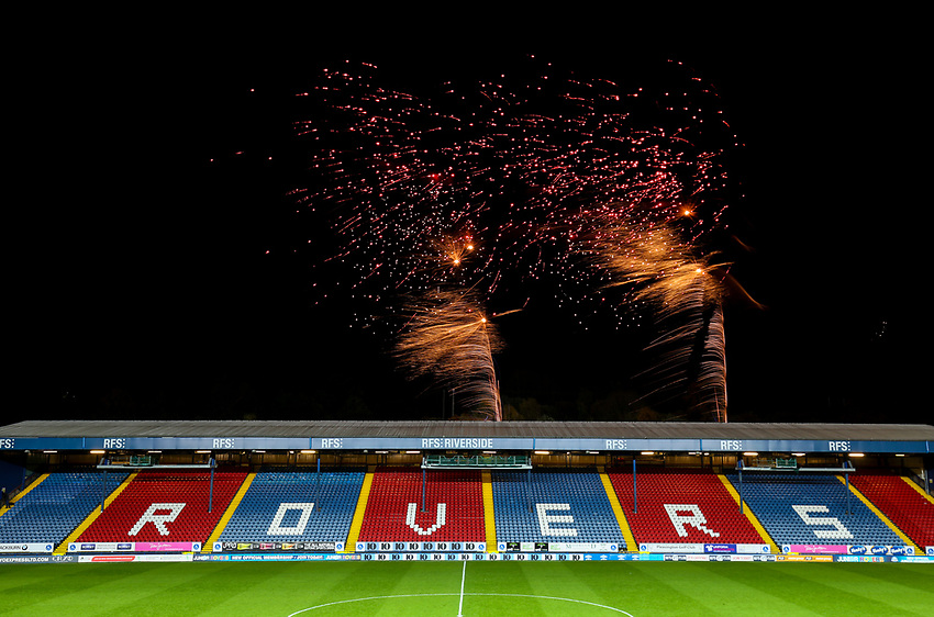 The Blackburn Rovers fans are treated to a fireworks display after the match<br /> <br /> Photographer Alex Dodd/CameraSport<br /> <br /> The EFL Sky Bet Championship - Blackburn Rovers v Queens Park Rangers - Saturday 3rd November 2018 - Ewood Park - Blackburn<br /> <br /> World Copyright © 2018 CameraSport. All rights reserved. 43 Linden Ave. Countesthorpe. Leicester. England. LE8 5PG - Tel: +44 (0) 116 277 4147 - admin@camerasport.com - www.camerasport.com
