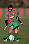Bayden Morey kicks for goal during the Counties Manukau Premier Club Rugby game between Waiuku & Ardmore Marist played at Waiuku on Saturday 20th June, 2009. Waiuku won the game 28 - 25.