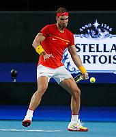 6th January 2020; RAC Arena, Perth, Western Australia; ATP Cup Australia, Perth, Day 4; Spain versus Uruguay; Rafael Nadal of Spain plays a forehand shot against Pablo Cuevas of Uruguay - Editorial Use