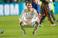LISBOA, PORTUGUAL, 24.05.2014 - LIGA DOS CAMPEOES - REAL MADRID - ATLETICO DE MADRID - Cristiano Ronaldo do Real Madrid comemora a conquista da Liga dos Campeões após a vitória por 4 a 1, na prorrogação contra o Atlético de Madrid, no estádio da Luz, em Lisboa, Portugal, neste sábado. O Real conquistou a taça da Liga pela 10ª vez. (PHOTO: PIXATHLON / BRAZIL PHOTO PRESS).
