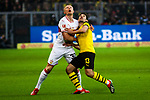 09.03.2019, Signal Iduna Park, Dortmund, GER, 1.FBL, Borussia Dortmund vs VfB Stuttgart, DFL REGULATIONS PROHIBIT ANY USE OF PHOTOGRAPHS AS IMAGE SEQUENCES AND/OR QUASI-VIDEO<br /> <br /> im Bild   picture shows:<br /> Zweikampf zwischen Andreas Beck (VfB Stuttgart #32) und Raphael Guerreiro (Borussia Dortmund #13), <br /> <br /> Foto &copy; nordphoto / Rauch