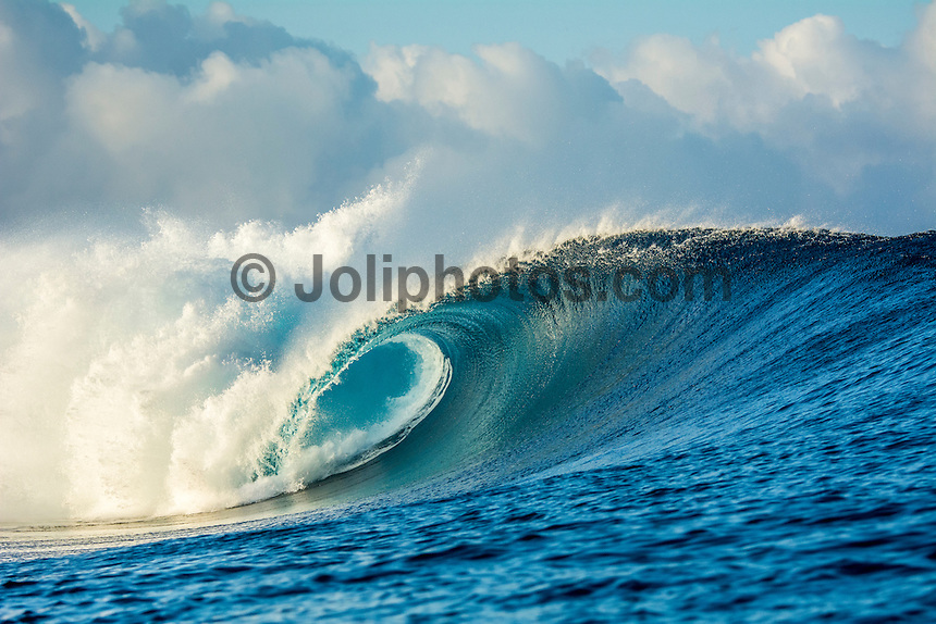 Namotu Island Resort, Fiji. Sunday February 8 2015) A breaking wave at Cloudbreak. - The surf  this morning was in the 4'- 6' range. Cloudbreak was the pick spot but Restaurants was also breaking in the 3' range.  Photo: joliphotos.com