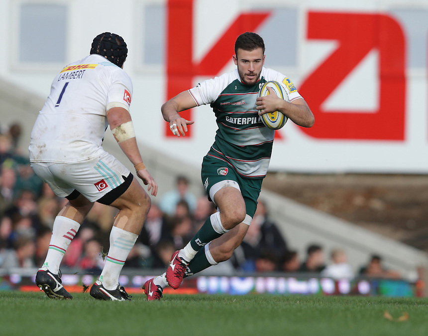 Leicester Tigers&rsquo; Tommy Bell in action during todays game<br /> <br /> Photographer Rachel Holborn/CameraSport<br /> <br /> Rugby - Aviva Premiership - Leicester Tigers v Harlequins - Sunday 25th October 2015 - Welford Road - Leicester<br /> <br /> &copy; CameraSport - 43 Linden Ave. Countesthorpe. Leicester. England. LE8 5PG - Tel: +44 (0) 116 277 4147 - admin@camerasport.com - www.camerasport.com