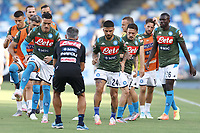 Jose Callejon of Napoli and Lorenzo Insigne during the warm up prior to the Serie A football match between SSC  Napoli and SPAL at stadio San Paolo in Naples ( Italy ), June 28th, 2020. Play resumes behind closed doors following the outbreak of the coronavirus disease. <br /> Photo Cesare Purini / Insidefoto