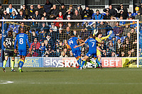 Liam Trotter of AFC Wimbledon watches his shot go over  during the Sky Bet League 1 match between AFC Wimbledon and Bristol Rovers at the Cherry Red Records Stadium, Kingston, England on 17 February 2018. Photo by Carlton Myrie.