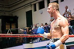 Brad Pauls vs Teodor Lozanov Middleweight contest During Goodwin Boxing: Summer Fight Festival. Photo by: Simon Downing.<br /> <br /> Saturday 16th July 2016 - York Hall, Bethnal Green, London, United Kingdom.