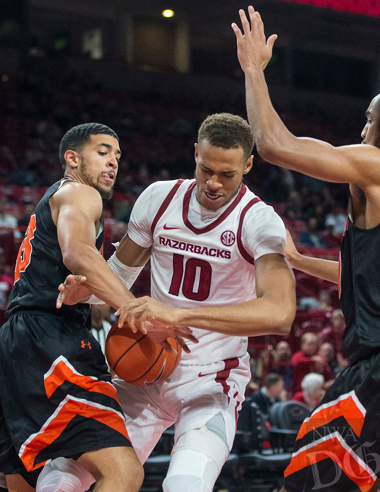 NWA Democrat-Gazette/BEN GOFF @NWABENGOFF <br /> Daniel Gafford of Arkansas vs Tusculum Friday, Oct. 26, 2018, during an exhibition game in Bud Walton Arena in Fayetteville.