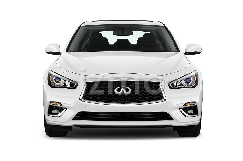 Car photography straight front view of a 2018 Infiniti Q50 Premium 4 Door Sedan