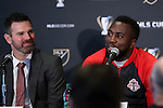 08 December 2016: Toronto's Jozy Altidore (right) with head coach Greg Vanney (left). Major League Soccer held a press conference with Toronto FC and Seattle Sounders FC at the Kia Training Ground in Toronto, Ontario in Canada two days before MLS Cup 2016.
