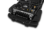 Car stock 2014 Jeep Wrangler Rubicon 5 Door SUV engine high angle detail view
