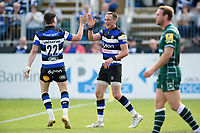 James Wilson of Bath Rugby celebrates his second half try with team-mate Freddie Burns. Aviva Premiership match, between Bath Rugby and London Irish on May 5, 2018 at the Recreation Ground in Bath, England. Photo by: Patrick Khachfe / Onside Images