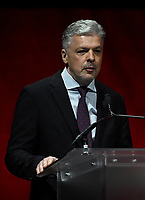 LAS VEGAS, NV - APRIL 24: President of Cinemark International, Valmir Fernandes speaks onstage during the CinemaCon 2018 The State of the Industry and Walt Disney Studios Presentation presentation at CinemaCon 2018 at The Colosseum at Caesars Palace on April 24, 2018 in Las Vegas, Nevada. (Photo by Frank Micelotta/PictureGroup)