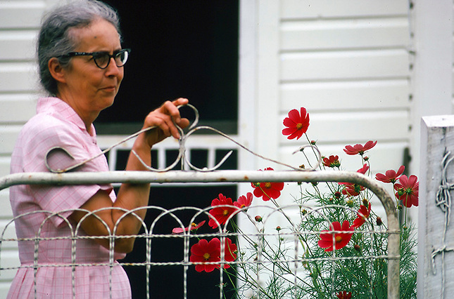 Farm lady at gate with flowers