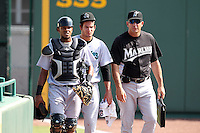 Florida Marlins roving pitching instructor Wayne Rosenthal with Jupiter Hammerheads pitcher Brad Hand #18 and catcher Miguel Fermin #13 during a game against the Bradenton Marauders at McKechnie Field on June 22, 2011 in Bradenton, Florida.  Bradenton defeated Jupiter 5-4.  (Mike Janes/Four Seam Images)